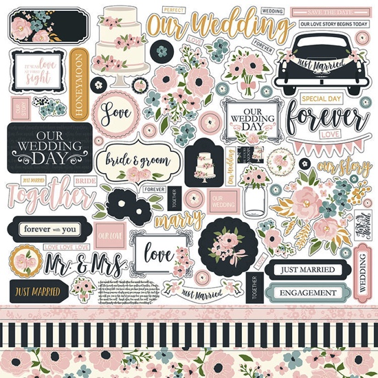Just Married 12x12 Cardstock Scrapbooking Stickers and Borders