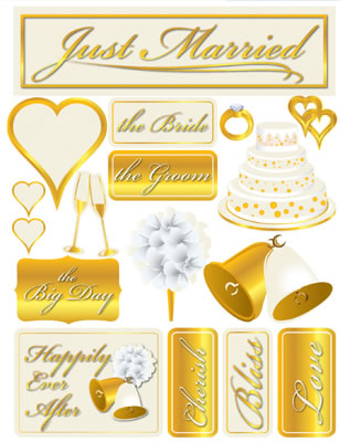 Just Married 3D Scrapbooking Stickers