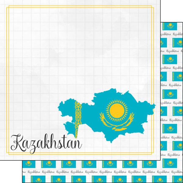 Kazakhstan 12x12 Double Sided Scrapbooking Paper