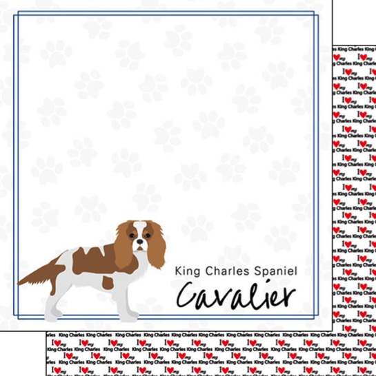 King Charles Spaniel 12x12 Double Sided Scrapbooking Paper