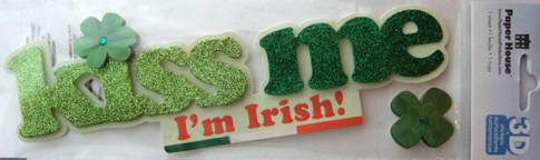 Kiss Me Irish 3D Glittered Scrapbooking Title Sticker