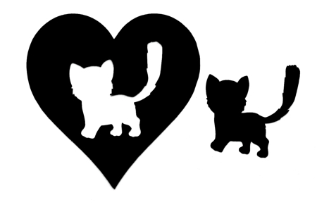 Kitten Heart Scrapbooking Laser Cut Title