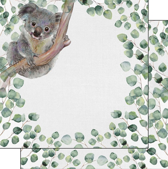 Koala Safari 12x12 Double Sided Scrapbooking Paper