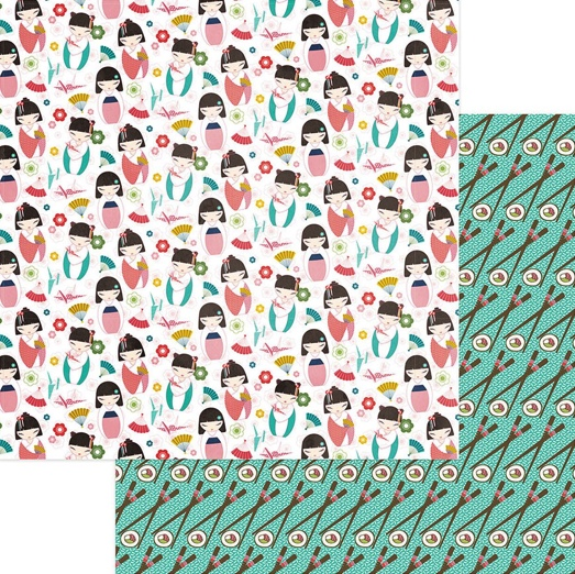 Konnichiwa Double Sided 12x12 Scrapbooking Paper