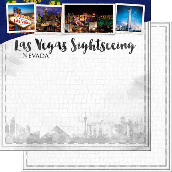Las Vegas Sightseeing 12x12 Double Sided Scrapbooking Paper