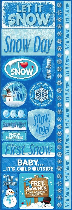 Let it Snow Cardstock Scrapbooking Stickers and Borders
