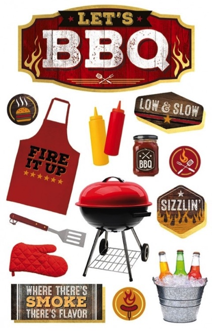 Let's BBQ 3D Glitter Scrapbooking Stickers