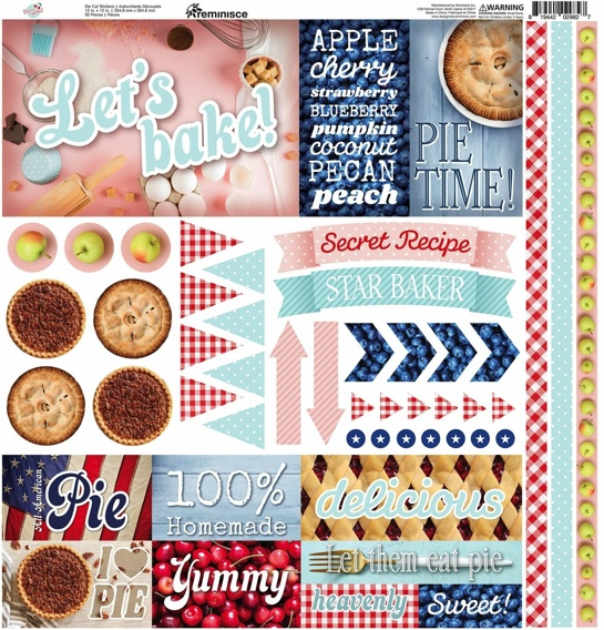 Let's Bake 12x12 Cardstock Scrapbooking Stickers and Borders