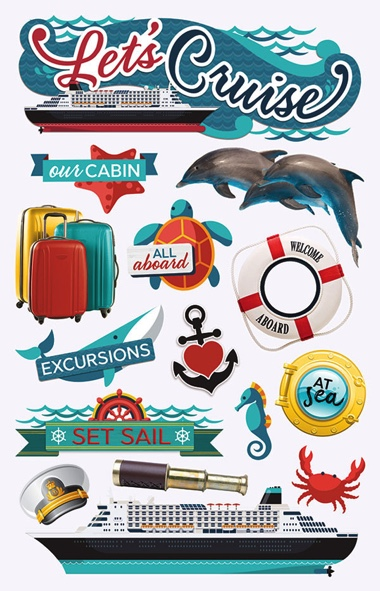 Lets Cruise 3D Scrapbooking Stickers with foil accents