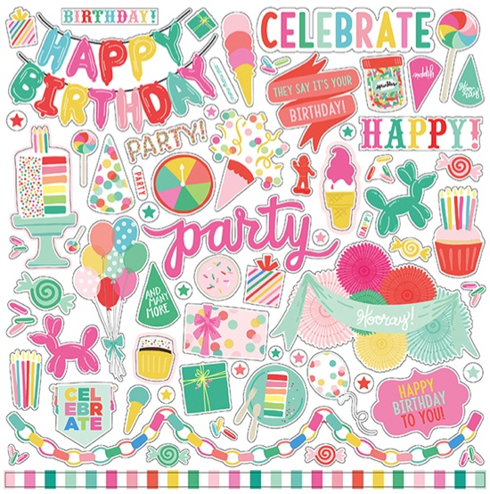 Lets Party 12x12 Cardstock Scrapbooking Stickers