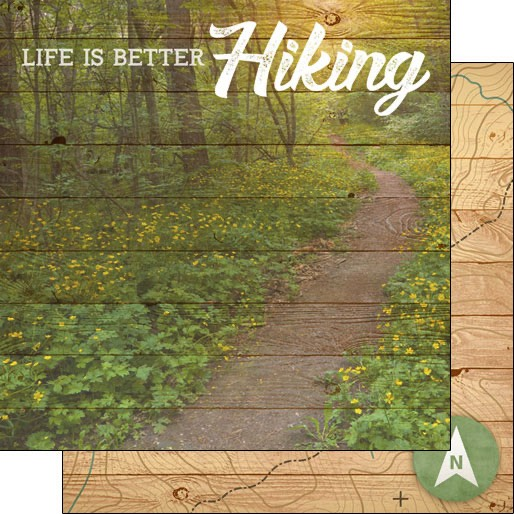 Life is Better Hiking 12x12 Double Sided Scrapbooking Paper