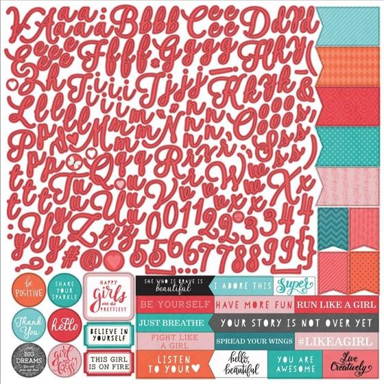 Like A Girl Alphabet 12x12 Cardstock Scrapbooking Stickers