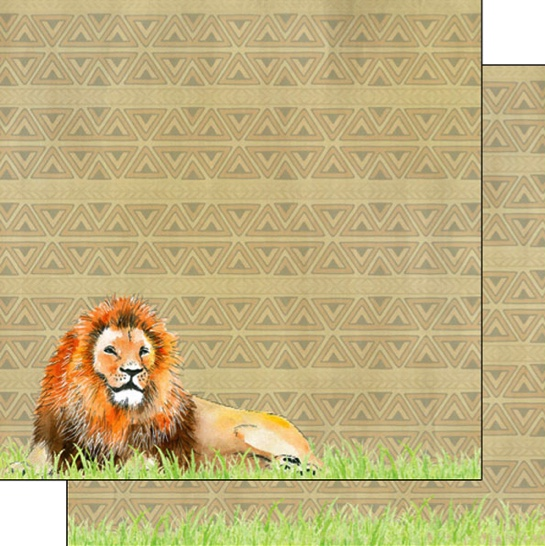 Lion Safari 12x12 Double Sided Scrapbooking Paper