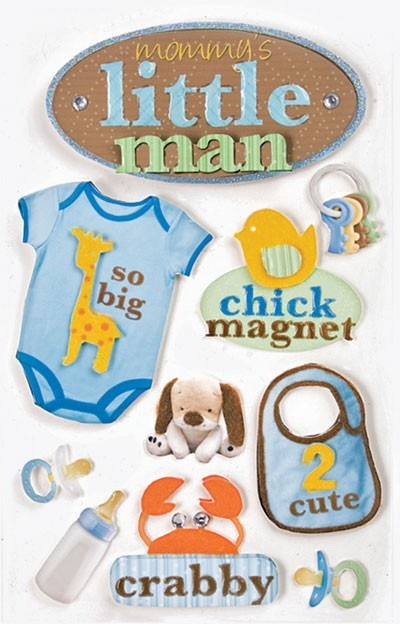 Little Man 3D Scrapbooking Stickers