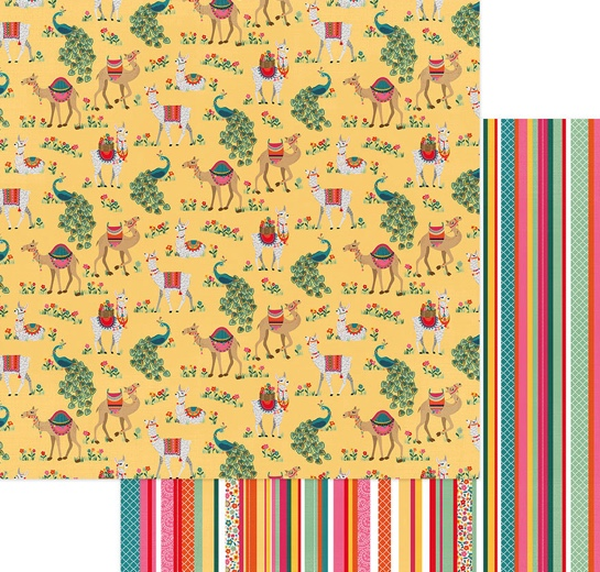 Llama Drama 12x12 Double Sided Scrapbooking Paper