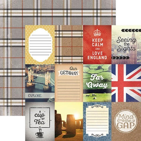 England Tags 12x12 Double Sided Scrapbooking Paper