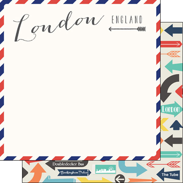 London Memories Arrows 12x12 Double Sided Scrapbooking Paper