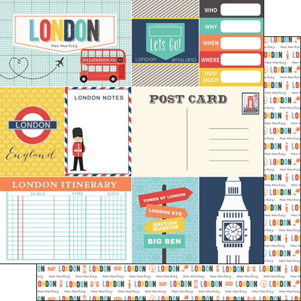 London Journal 12x12 Double Sided Scrapbooking Paper