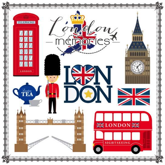 London Memories Cut Outs 12x12 Scrapbooking Paper