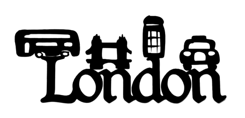 London Scrapbooking Laser Cut Title with Icons