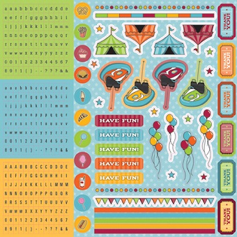 Loops and Scoops 12x12 Glittered Cardstock Scrapbooking Stickers and Alphabets