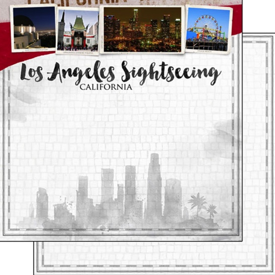 Los Angeles Sightseeing 12x12 Double Sided Scrapbooking Paper