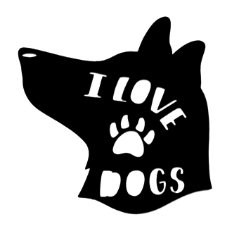 I Love Dogs Scrapbooking Laser Cut Title in Dogs Head