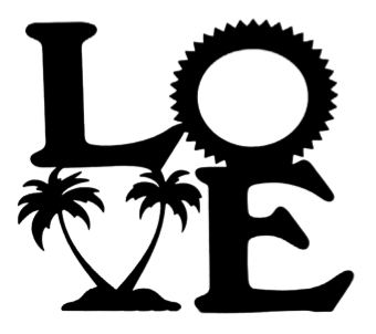 Love Scrapbooking Laser Cut Title with Sun and Palms