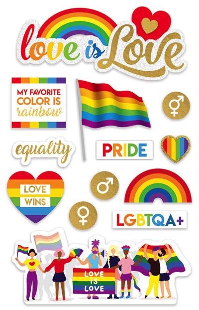 Love is Love 3D Scrapbooking Glitter Stickers