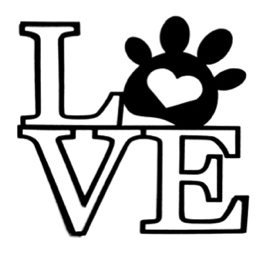 Love Scrapbooking Laser Cut Title with paw print heart