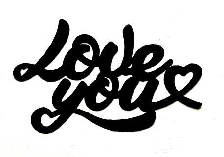 Love You Scrapbooking Laser Cut Title with Heart