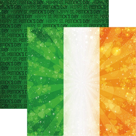 Lucky Ireland Flag Double Sided 12x12 Scrapbooking Paper