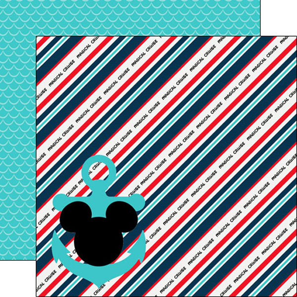 Magical Cruise Anchor and Stripes 12x12 Double Sided Scrapbooking Paper