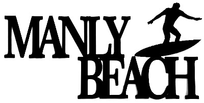 Manly Beach Scrapbooking Laser Cut Title with Surfer