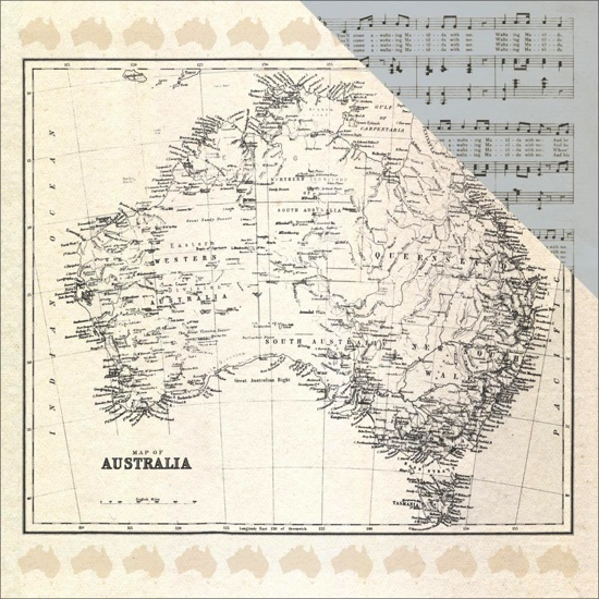 Map of Australia 12x12 Double Sided Scrapbooking Paper