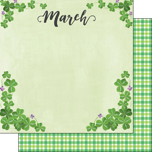 March 12x12 Double Sided Scrapbooking Paper