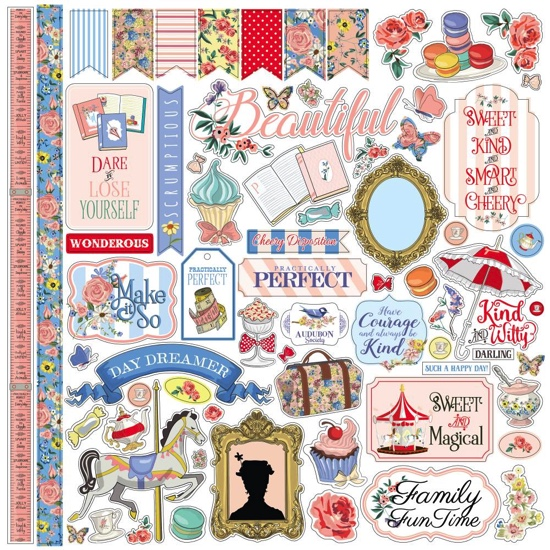 Practically Perfect Mary Poppins 12x12 Cardstock Scrapbooking Stickers and Borders