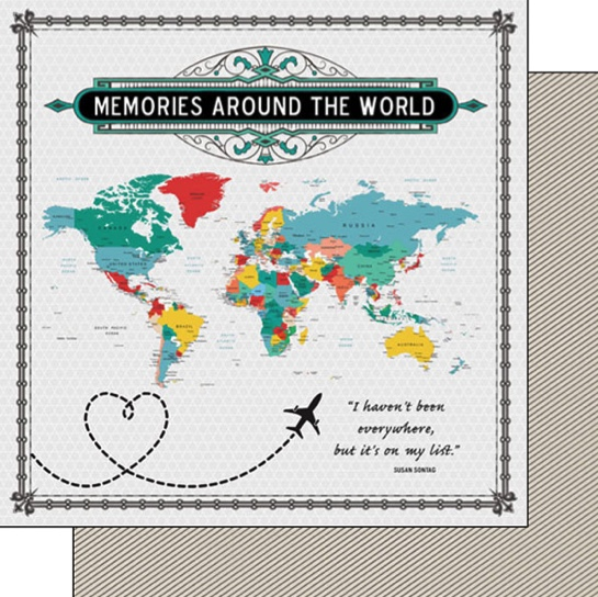 Around the World Memories Map 12x12 Double Sided Scrapbooking Paper