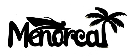 Menorca Scrapbooking Laser Cut with speed boat and palm