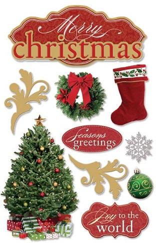 Merry Christmas 3D Glitter Scrapbooking Stickers