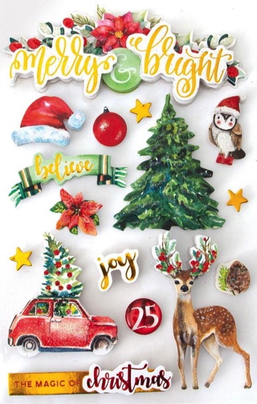 Merry and Bright 3D Glitter Scrapbooking Stickers