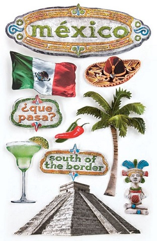 Mexico 3D Glitter Scrapbooking Stickers
