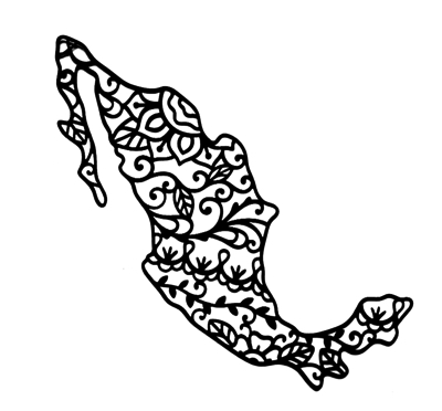 Mexico Country Shape Intricate Scrapbooking Laser Cut