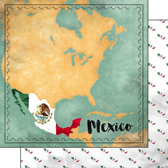 Mexico Sights Map 12x12 Double Sided Scrapbooking Paper