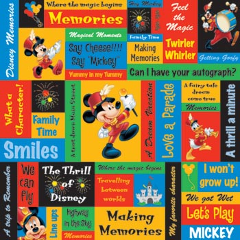 Mickey Phrases 12x12 Scrapbooking Paper