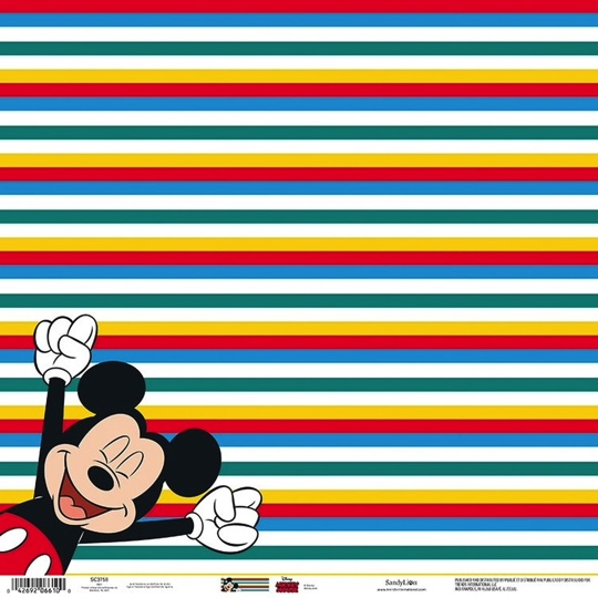 Mickey Colourful Stripes 12x12 Scrapbooking Paper