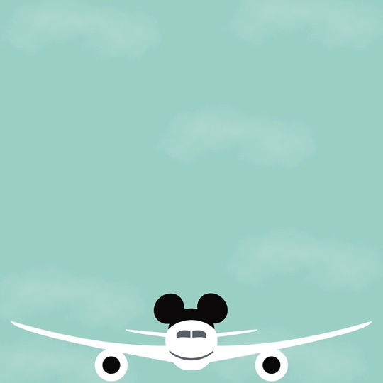 Mickey Flying Off to Disney 12x12 Scrapbooking Paper