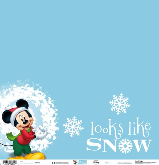 Mickey Looks Like Snow 12x12 Scrapbooking Paper
