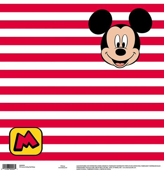 Mickey Red Stripe 12x12 Scrapbooking Paper