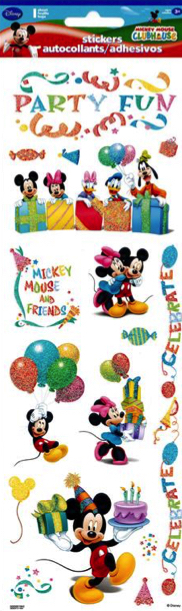 Mickey Mouse Party Glitter Scrapbooking Stickers